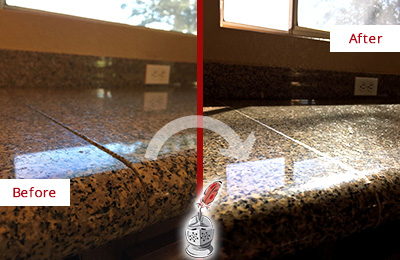 Beau Before And After Picture Of A Honed And Polished Granite Countertop With  Damaged Seam Line ...