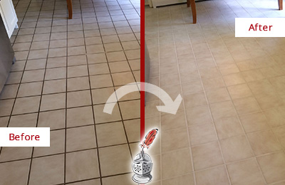 Before and After Picture of a Dirty Kitchen Tile Floor Recolored and Sealed for Extra Protection