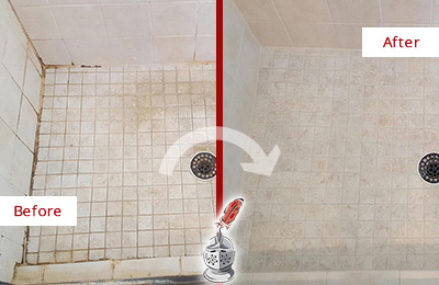 Before and After Picture of a Gateway Shower Caulked to Fix Cracks