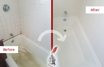 Before and After Picture of a Alva Bathtub Caulked to Repair Cracks