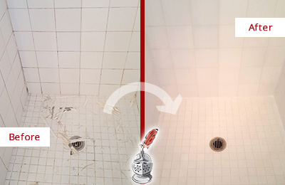 Before and After Picture of a Fort Myers Beach Bathroom Re-Caulked To Repair Damaged Caulking
