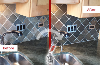 Before and After Picture of a Alva Backsplash Caulked to Fix and Prevent Water Leaks