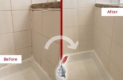 Before and After Picture of a Gateway Shower Caulked to Repair Damaged Caulking