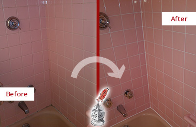 Before and After Picture of a Gateway Bathtub Caulked to Eliminate Mold