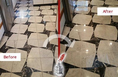 Before and After Picture of a Dull Buckingham Marble Stone Floor Polished To Recover Its Luster