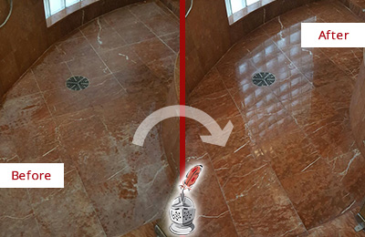 Before and After Picture of a Buckingham Marble Stone Shower Polished to Eliminate Mineral Deposits