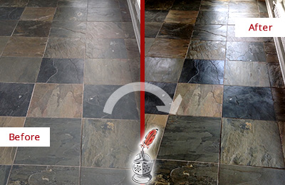 Before and After Picture of a Dull Matlacha Shores Slate Floor Sealed to Bring Back Its Colors