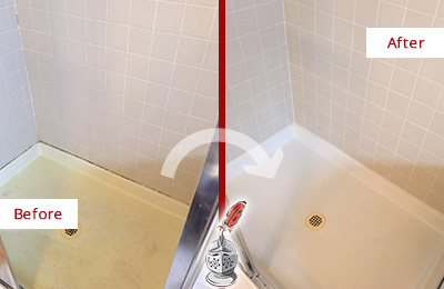 Before and After Picture of a Burnt Store Marina Shower Sealed to Remove and Protect Against Mold