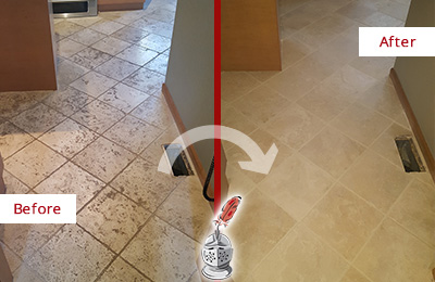 Before and After Picture of a Cypress Lake Kitchen Marble Floor Cleaned to Remove Embedded Dirt