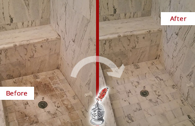 Before and After Picture of a Dirty Cypress Lake Marble Shower Cleaned to Eliminate Dark Stains