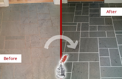 Before and After Picture of a Cypress Lake Slate Floor Cleaned to Remove Deep-Seated Dirt