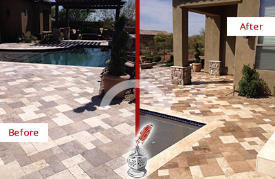 Before and After Picture of a Dull Cypress Lake Travertine Pool Deck Cleaned to Recover Its Original Colors