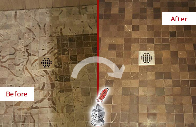 Before and After Picture of a Stained Cypress Lake Marble Shower Floor Cleaned to Remove Etching