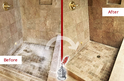 Before and After Picture of a Cypress Lake Travertine Shower Cleaned to Eliminate Water Spots