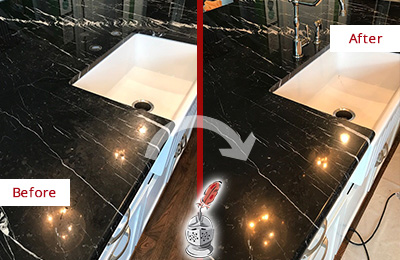 Before and After Picture of a Iona Marble Kitchen Countertop Stone Sealed to Avoid Water Damage