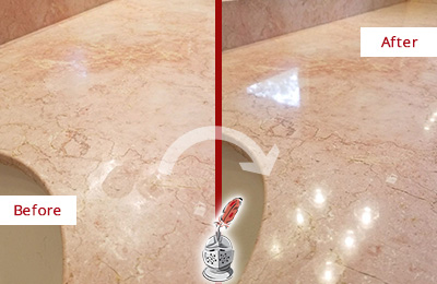 Before and After Picture of a Iona Marble Stone Vanity Top Sealed to Avoid Water Marks