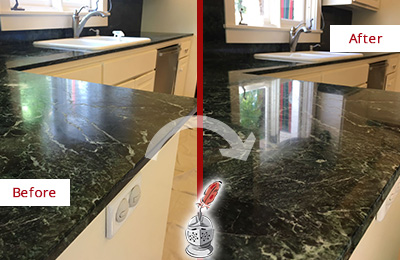 Before and After Picture of a Cypress Lake Marble Kitchen Countertop Honed to Remove Water Marks