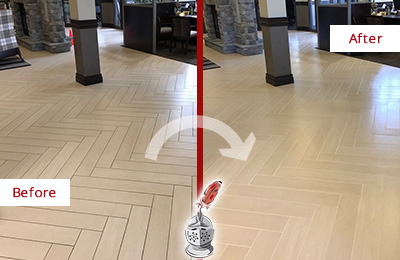 Before and After Picture of a Sanibel Hard Surface Restoration Service on an Office Lobby Tile Floor to Remove Embedded Dirt