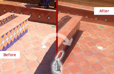 Before and After Picture of a Sanibel Hard Surface Restoration Service on a Dull Terracotta Patio Floor to Recover Its Color