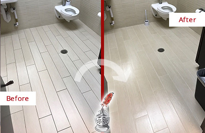 Before and After Picture of a Estero Office Restroom's Grout Cleaned to Remove Dirt