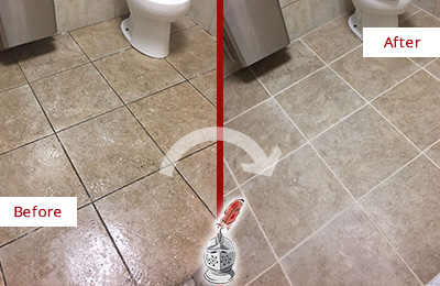 Before and After Picture of a Solana Office Restroom Floor Recolored Grout