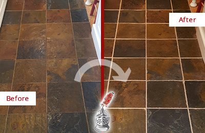 Before and After Picture of a Solana Slate Floor Recolored Grout