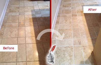 Before and After Picture of a Solana Travertine Kitchen Floor Recolored Grout