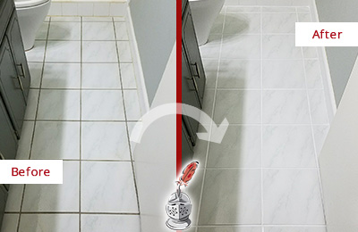 Before and After Picture of a Solana White Ceramic Tile with Recolored Grout