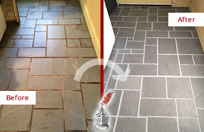 Before and After Picture of Damaged Three Oaks Slate Floor with Sealed Grout