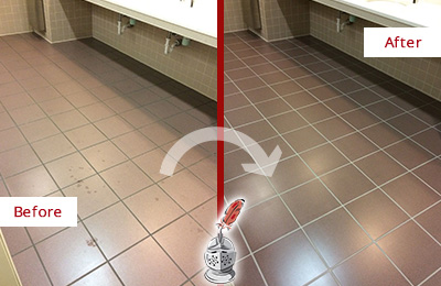 Before and After Picture of Dirty Grove City Office Restroom with Sealed Grout