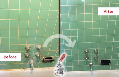 Before and After Picture of a Grove City Bath Tub Grout Sealed to Avoid Water Damage