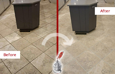 Before and After Picture of a Three Oaks Kitchen Floor Grout Sealed to Remove Stains