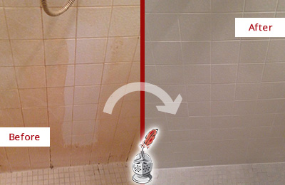 Before and After Picture of a Tice Porcelaine Shower Cleaned to Remove Soap Scum